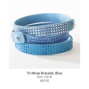 Touchstone Crystal Blue Tri-Wrap Bracelet